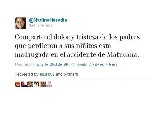 Nadine Heredia lamentó muerte de niños tras accidente en Matucana