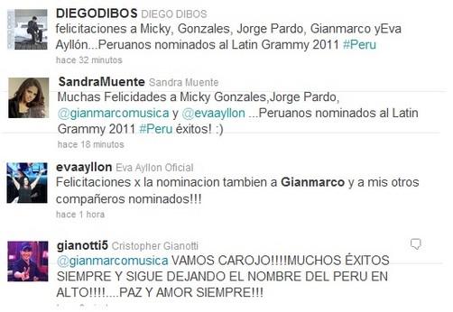Llueven los saludos a artistas peruanos nominados al Grammy