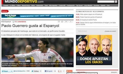 Paolo Guerrero podría llegar al Espanyol de Barcelona