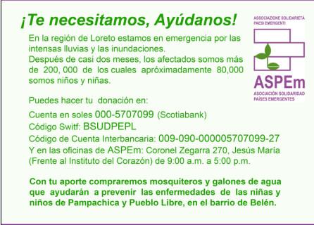 Iquitos continúa en emergencia ambiental: ASPEm hace un llamado a la solidaridad para contribuir con ayuda para los niños y niñas de Iquitos