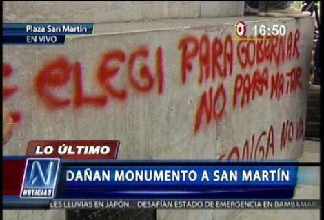 Cinco personas fueron detenidas tras la manifestación en la plaza San Martín