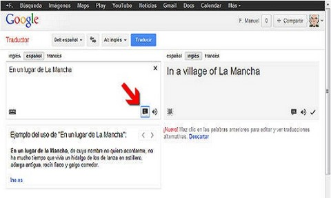 Traductor de Google presenta ejemplos de uso de palabras