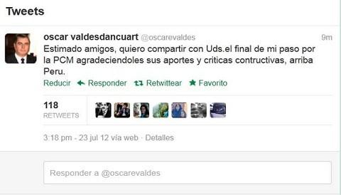 Óscar Valdés se despidió del Consejo de Ministros por Twitter