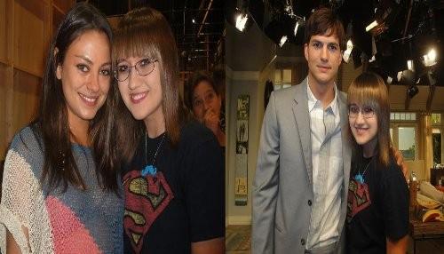 Mila Kunis visita a Ashton Kutcher en el set de Two and a Half Men