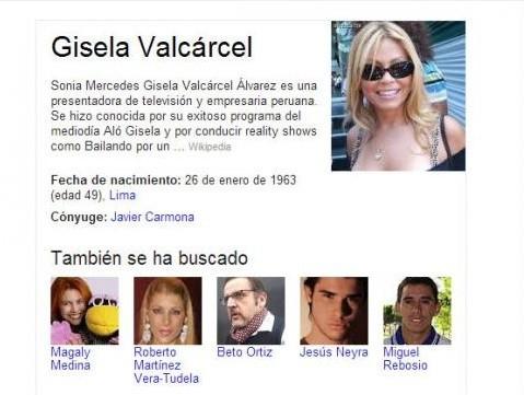 Autobiografía de Google desconoce a Tula: Gisela Valcárcel es la esposa de Javier Carmona