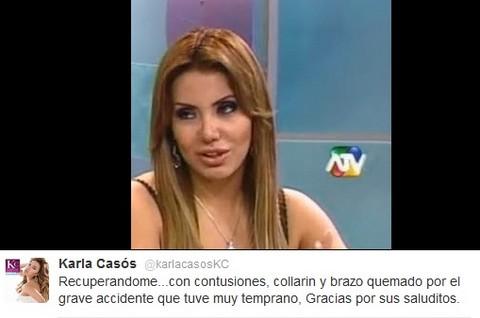 Karla Casós quedó con un brazo quemado y usando collarín tras accidente