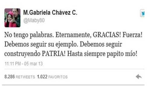 Hija de Hugo Chávez en Twitter: ¡Hasta siempre papito mío!