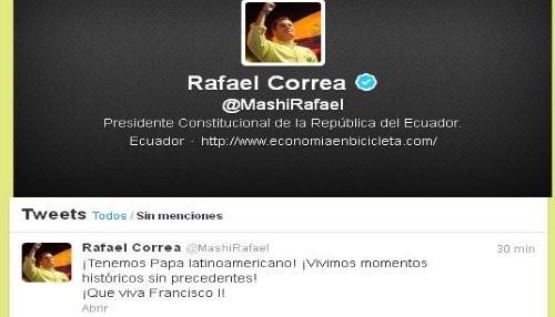 Presidente Rafael Correa saluda la elección del nuevo Papa