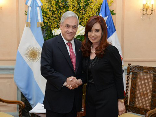 Cristina Fernández se reunió en Roma con el presidente de Chile Sebatián Piñera