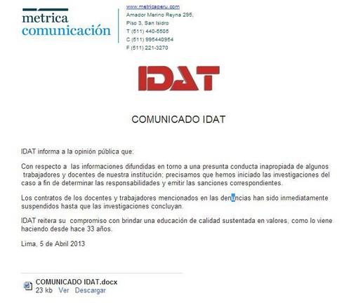 IDAT publicó un comunicado sobre el caso de  extorsión sexual que existe en sus aulas