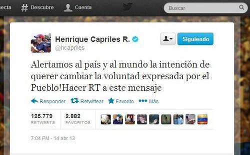 Elecciones Venezuela: Capriles afirma que 'tienen la intención de querer cambiar la voluntad del pueblo'
