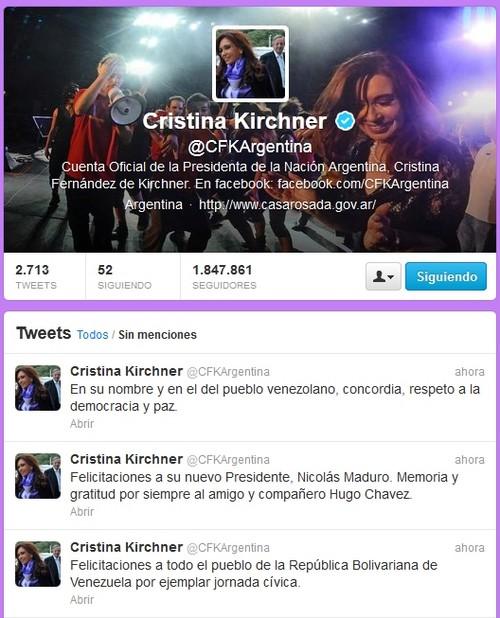 Cristina Fernández felicita a Nicolás Maduro por la victoria electoral en Venezuela
