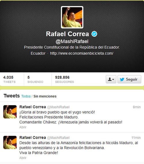 Presidente ecuatoriano Rafael Correa felicita a Nicolás Maduro por la victoria en Venezuela