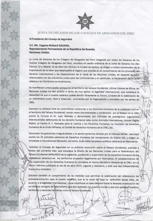 Carta de la Junta de Decanos de Colegios de Abogados del Perú al Presidente del Consejo de Seguridad