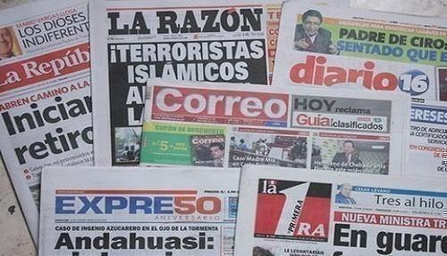 Las portadas de los diarios peruanos para hoy miércoles 8 de mayo