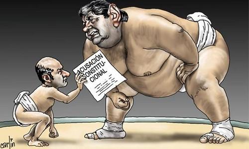 La relación de fuerzas producto de la acusación constitucional es objeto de una caricatura de Carlín