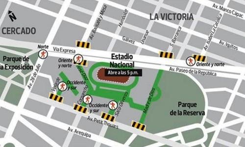 [Perú vs. Ecuador] Las calles aledañas al Estadio Nacional estarán restringidas al tránsito vehicular