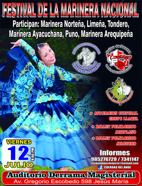 Festival de la Marinera este viernes 12 de julio a las 8pm en el Auditorio de la Derrama Magisterial