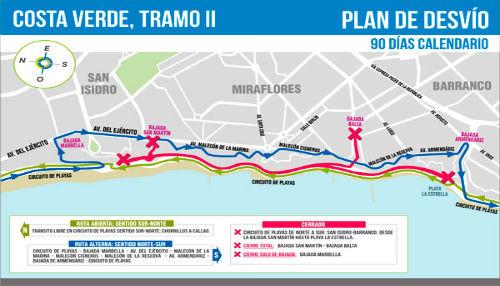 Municipalidad de Lima inició construcción de tercer carril entre San Isidro y Chorrillos, en la Costa Verde