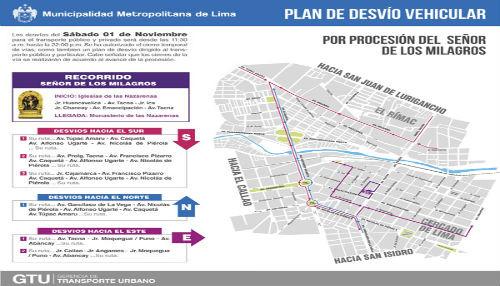 Municipalidad de Lima anuncia plan de desvío vehicular por última procesión del Señor de los Milagros