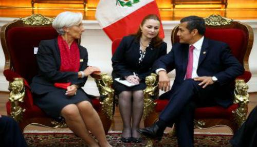 Presidente Humala y Directora del FMI conversaron sobre situación económica mundial y su impacto en la región y el Perú