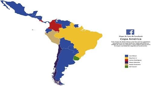 Mapa de fans de la Copa América en Facebook