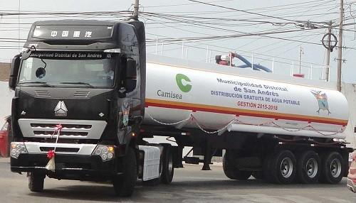 Se entregó camión cisterna valorizado en más de 500,000 soles para abastecimiento de agua en San Andrés