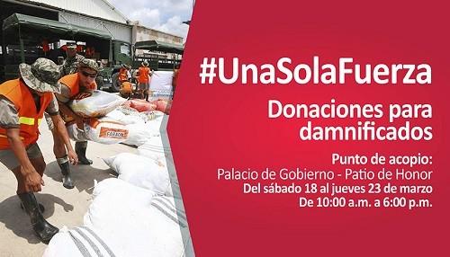 Palacio de Gobierno se suma a campaña solidaria por damnificados de intensas lluvias, huaicos e inundaciones