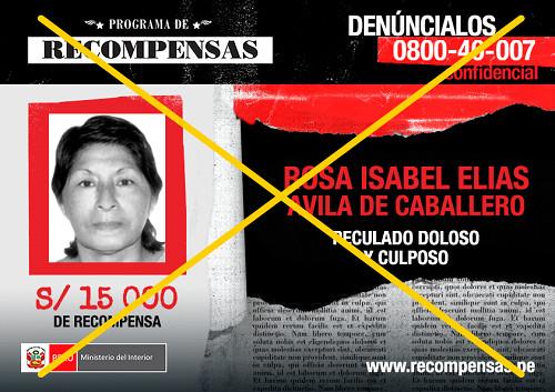 Capturan a ex alcaldesa de Magdalena de Cao incluida en Programa de Recompensas