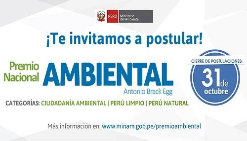 El Ministerio del Ambiente convoca al Premio Nacional Ambiental Antonio Brack Egg edición 2017