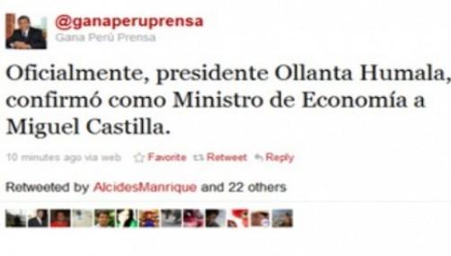Gana Perú confirmó como Ministro de Economía a Miguel Castilla