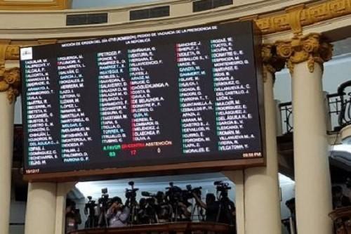 Pleno admitió moción de vacancia presidencial