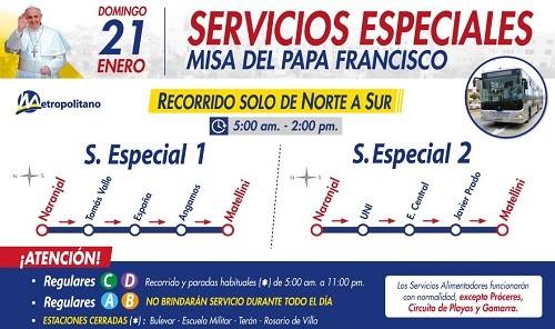 Metropolitano y corredores brindarán servicio especial por misa del Papa Francisco