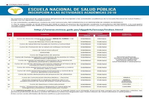 Escuela Nacional de Salud Pública inicia inscripciones para cursos académicos del 2018