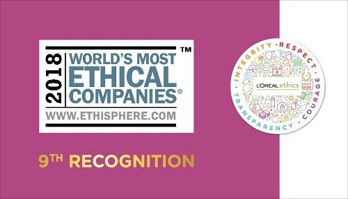 L'Oréal es nombrada como una de las Empresas más Éticas del Mundo por el Instituto Ethisphere por 9a ocasión