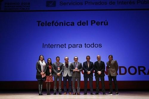 """Proyecto 'Internet Para Todos' ganó premio buenas prácticas en gestión pública en """"Servicios privados de interés público"""""""