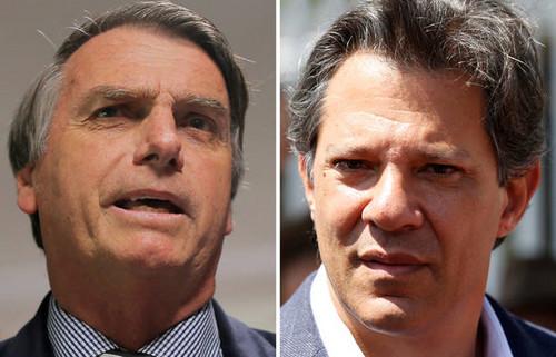 Jaier Bolsonaro le sacaría 18 puntos de diferencia a Fernando Haddad en segunda vuelta