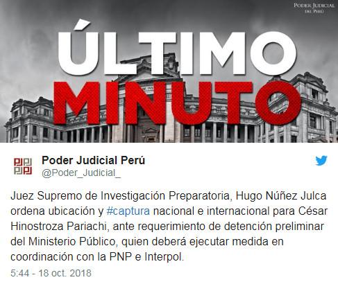 Poder Judicial ordena ubicación y captura del exvocal supremo César Hinostroza pariachi