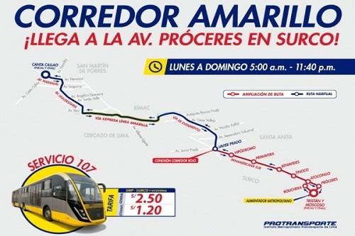 Corredor Amarillo amplía su recorrido hasta la avenida Próceres en Santiago de Surco