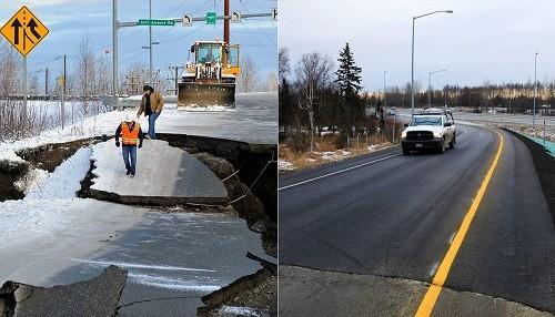 La carretera dañada por el terremoto de Alaska ha sido rehabierta a la circulación