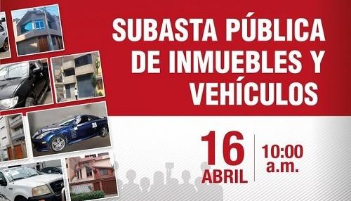 PRONABI subasta este 16 de abril lotes de inmuebles y de vehículos incautados
