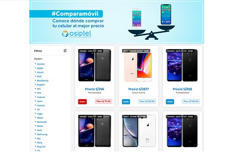 OSIPTEL lanza Comparamóvil, novedosa herramienta web para comparar precios de equipos celulares
