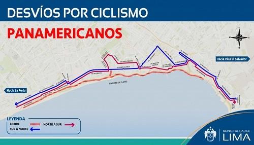 Desvíos por cambio de ruta de ciclismo en la Costa Verde