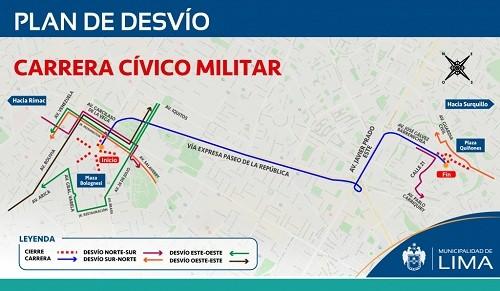 Desvíos por carrera Cívico Militaer este domingo