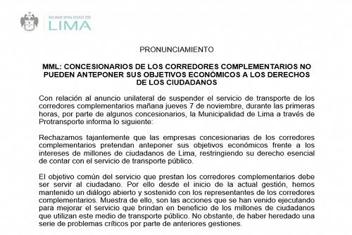 Municipalidad de Lima informa sobre situación en los corredores complementarios