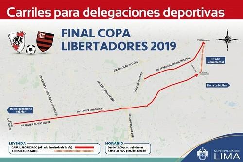 Municipio de Lima habilitará carriles exclusivos por final de Copa Libertadores