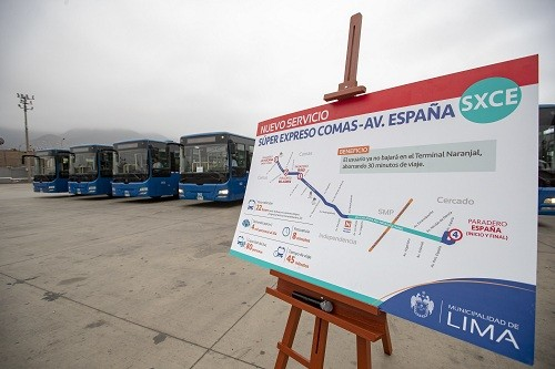 Presentan los buses del nuevo servicio Comas – Av. España del Metropolitano