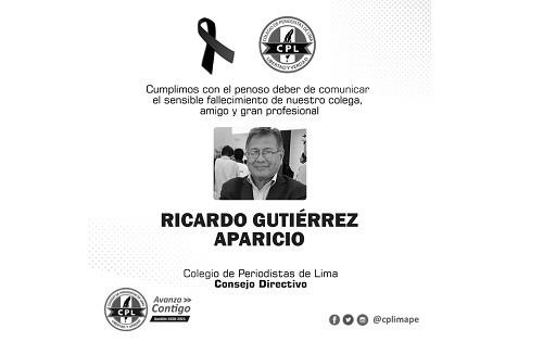 El Colegio de Periodistas de Lima lamenta la partida del destacado periodista y miembro de la Orden, Ricardo Gutiérrez Aparicio