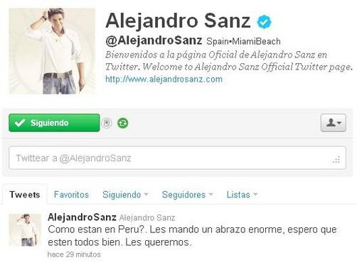 Alejandro Sanz manda mensaje vía Twitter  tras sismo en Perú