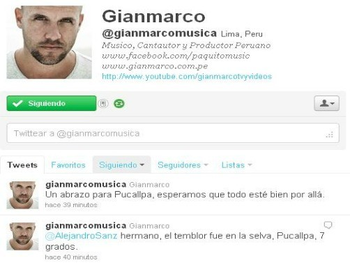 Gianmarco manda mensaje a Pucallpa tras sismo